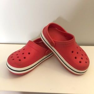 CROCS juniors size 1 red and white slip on
